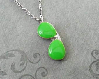 Sunglasses Necklace Green Sunglasses Charm Necklace Sunglasses Jewelry Glasses Necklace Summer Necklace Summer Jewelry Silver Necklace