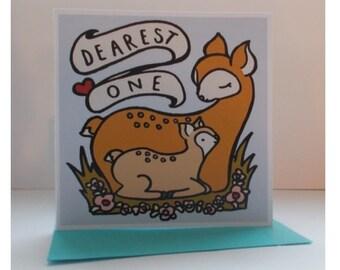 """Cute Kawaii Deer Card: """"Dearest One"""""""