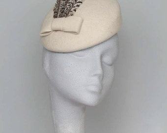 Ivory Felt Fascinator Headpiece