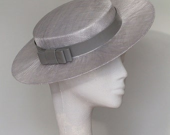 Silver Grey Boater Fascinator Headpiece Ascot Hat