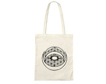 Hand printed cotton bag / jute bag with Flower of Life/ crescent print Black / White / 38 x 42 cm