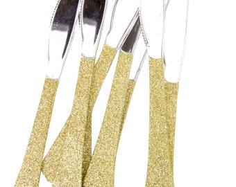 Gold Glitter Plastic Knife Gold Glitter Silverware Gold Glitter Plastic Utensils Glitter Party Plastic Utensil Disposable Plastic Silverware