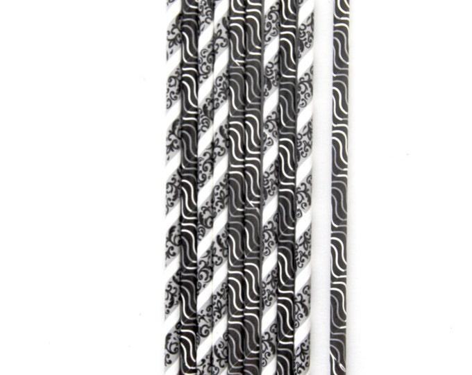 Black and White Straw With Gold Flag, Decorative Paper Straw, Gold Straw Flag, Baby Shower or Wedding Straw, Graduation Part