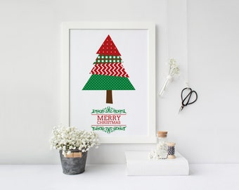 Merry christmas, Christmas poster, Holidays print, Printable poster, Christmas poster, Christmas wall art, Instant download, Four sizes