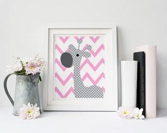 Pink and grey nursery art, Giraffe nursery print, Nursery Printable, Baby girl nursery,  Nursery wall art, Nursery decor, Nursery poster