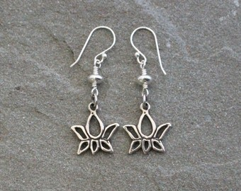 Balinese Sterling Silver Lotus Earrings, Lotus Dangles, Sterling Silver Flower Earrings, Silver Lotus Flower Earrings, Silver Lotus Jewelry