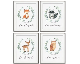 Woodland Nursery Decor | Fox Deer Raccoon Owl | Woodland Animals | Woodland Nursery Creatures Be Brave Be Kind Be Curious Be Wise | Set of 4