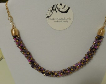 Purple Burgundy Gold Kumihimo Necklace OOAK Handmade Necklace Mother's Day