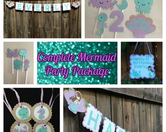 Mermaid Party Package, Complete Mermaid Birthday Package, Under The Sea Party Decor, Mermaid Party Decor, Mermaid Birthday