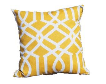 Yellow Trellis Pillow Case,  Pattern, Geometric, White, Modern, Bright, Square shape, 45x45 cm (17.7x17.7inches)