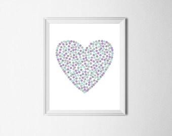Nursery Prints Digital Heart Nursery Art Lavender Mint Silver Nursery Print Mint Purple Nursery Decor Heart Printable Wall Art 8x10 12x12