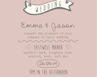 SAMPLE Pastel Pink Sweet Heart Shabby Chic Wedding Invitations