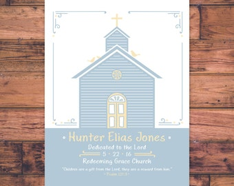 Baby Baptism or Dedication Keepsake - Church & Birds Boy Theme