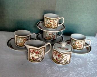 Vintage 10 Piece Tea Set, Nippon Tokusei Bird of Paradise Set, Rising Sun Mark, 4 cups with saucers, creamer, sugar, Circa 1940s
