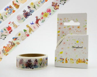 Adorable forest animal whimsical washi tape - 5m - bunny rabbits & deer - fox - birds - weasels - meerkats - bear - giraffe - botanical