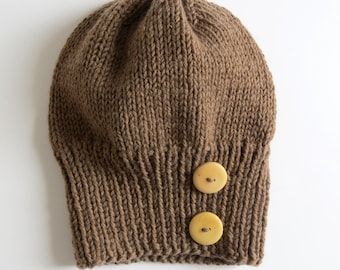 Chunky and slouchy hat for adult in wool - brown