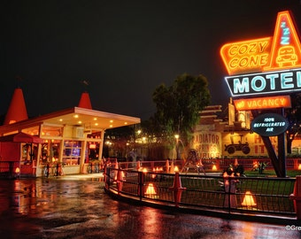 Disney California Adventure Cars Land Cozy Cone Motel, Metallic Paper  / Metal Print