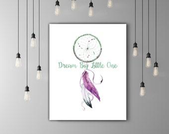 Feather Dreamcatcher Nursery Girl Art, Native American Baby Tribal Nursery Decor, Indian Dream Catcher Art, Lilac Nursery Watercolor
