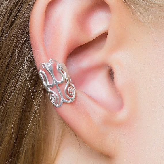 Silver Cuff. ear cuffs. ear wrap. bohemian ear cuff. cartilage cuff. ear cuffs earring. ear cuffs no piercing. fake piercing. shiva. tribal