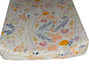Peach Floral Changing Pad Cover,  Floral Nursery Bedding, Art Gallery Changing Pad Cover, Wispy Daybreak Aura Collection