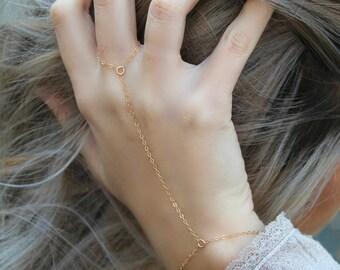 Gold Handchain Slavechain Boho Chic Body Jewelry