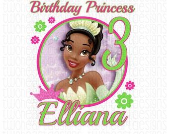 Tiana Birthday Princess Name Age Iron On - Digital - You Print