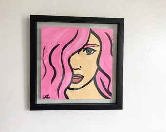 Pink - Pop Art Painting on Paper