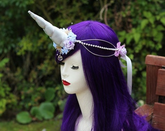 Silver Spiral Unicorn Horn - Fairy Queen Plush Horn Flower Wire Headdress/Tiara