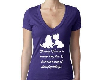 Fox and the Hound Silhouette Women's V-Neck Short Sleeve Shirt //The Fox and the Hound Shirt // Disney Lover Shirt // Tod and Copper Shirt