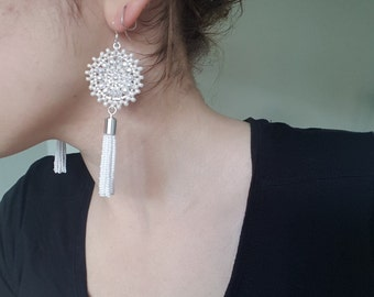 Statement Earrings, Beaded Tassel Earrings, Bridal Statement Earrings by Detail London.