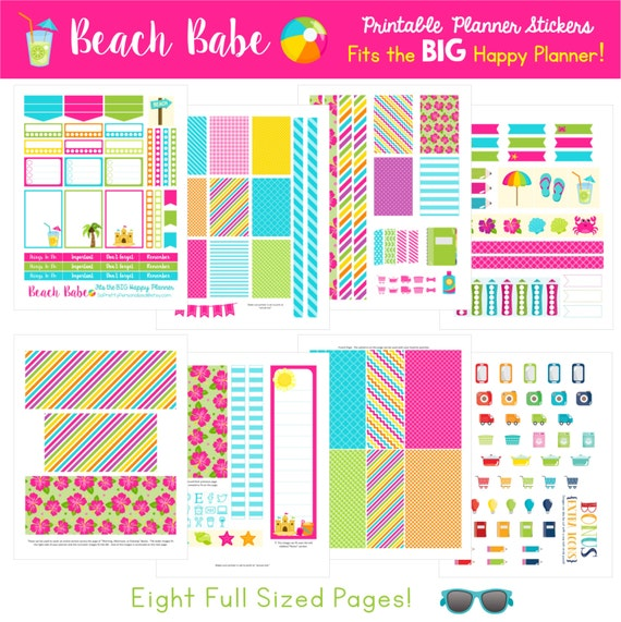 Beach Babe - Fits The BIG Happy Planner (8.5 x 11)!  Printable Planner Stickers - 8 Full Pages!