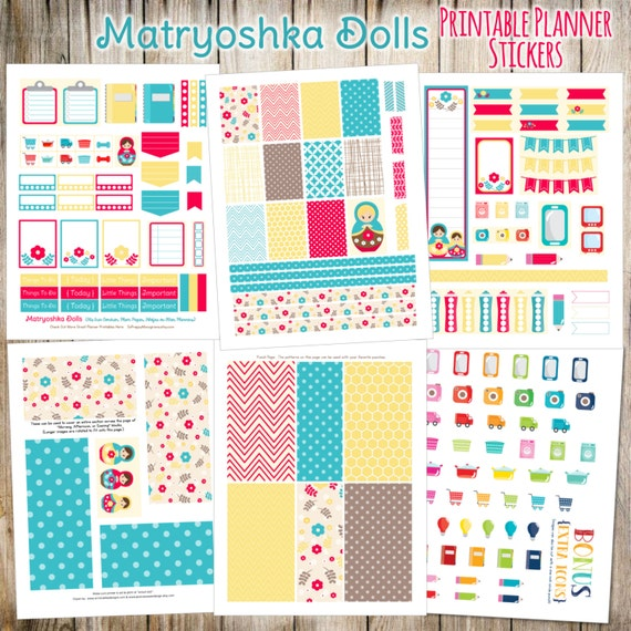 Matryoshka Dolls Printable Planner Stickers - 6 Full Pages!  (Made to fit Erin Condren, Plum Paper, Filofax, and other planners)
