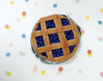 Blueberry Pie Compact Mirror Fake Blue Berry Pie Polymer Clay Charm Miniature Food Jewelry Desserts Mirror Novelty Gifts