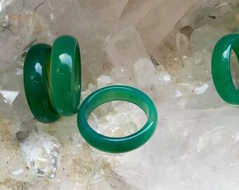 Green Agate Band, Gemstone Band, Agate Stone Ring