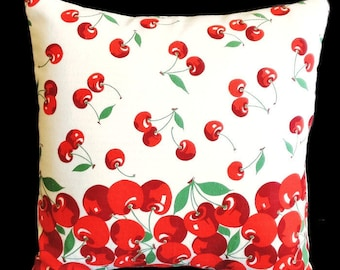 "Vintage Cherry Tablecloth Pillow - 14"" x 14"" & Insert Included"