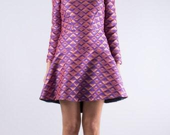 SALE 30% Off, Womens Purple Dress, Light Pink Dress, Purple Bridesmaid, Ruffle Flared Dress, Asymmetric Dress, Tunic Dress, Asymmetric Tunic