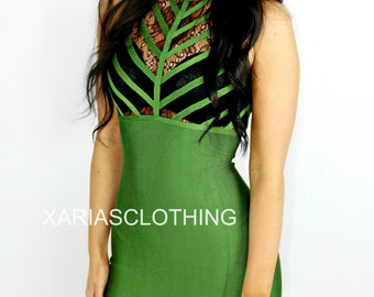 TESSA lace lux bandage dress - Green