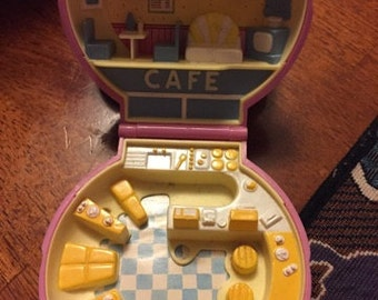 1989 Polly Pocket -Bluebird-pink shell compact-Polly cafe