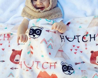 SALE Personalized baby blanket Tribal baby blanket Baby Blanket Baby Name Blanket Bear Blanket Fox Blanket Tribal Blanket Arrow Blanke