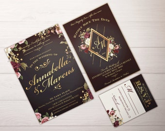 Wedding Invitation Suite; Custom downloadable, Fairytale Snow White, PDF; Dark; Romantic; Floral; Glamorous; Fall Wedding