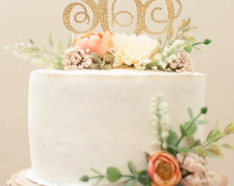 Monogram Glitter Cake Topper or Centerpiece Pick