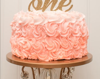 "Smash Cake ""ONE"" Glitter Cake Topper or Centerpiece Pick"