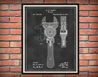 Patent 1878 Wrench - Crescent Wrench Art Print - Mechanics Wall Art - Carpenter Wall Art - Gift for Him - Auto Repair Shop Art - Plumber Art