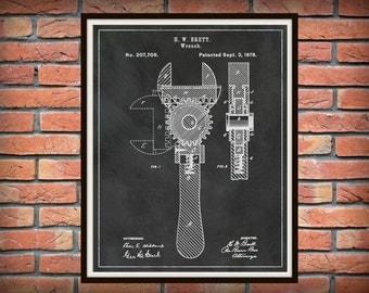 Patent 1878 Wrench - Crescent Wrench Art Print - Mechanics Wall Art - Carpenter Wall Art - Gift for Him - Auto Repair Shop Art - Plumber Art