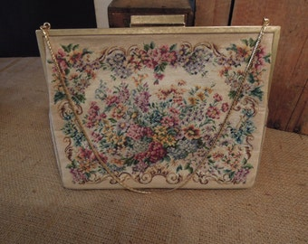 Vintage Originals Jolles Purse / Fine Petit Point / Austrian Handbag / Tapestry Clutch Purse / Vintage Collectibles 1930's