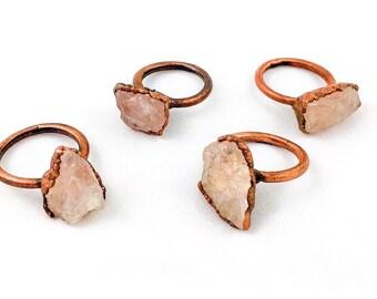 Raw Rose Quartz Ring | Metaphysical Jewelry |  Electroformed Jewelry | Rose Quartz and Copper Ring | Crystal Healing