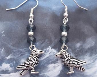 Raven Earrings, Crow Earrings, Crystal Earrings, Bird Earrings, Raven Jewelry, Bird Jewellery, Odin's Ravens, Huginn and Muninn, Gothic Wear