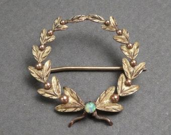 10K gold opal wreath brooch