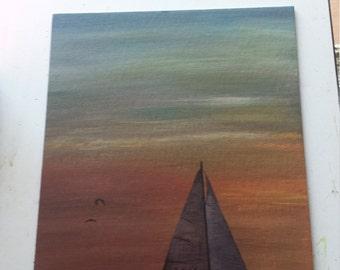 Sail Away .Original painting on board .