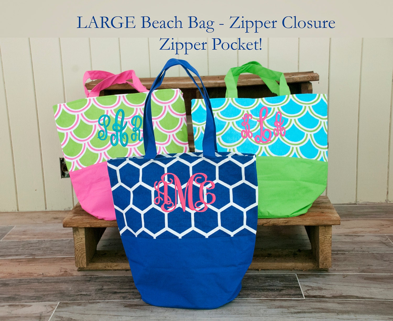 Large Monogrammed Beach Bag Personalized Bag Bridesmaid